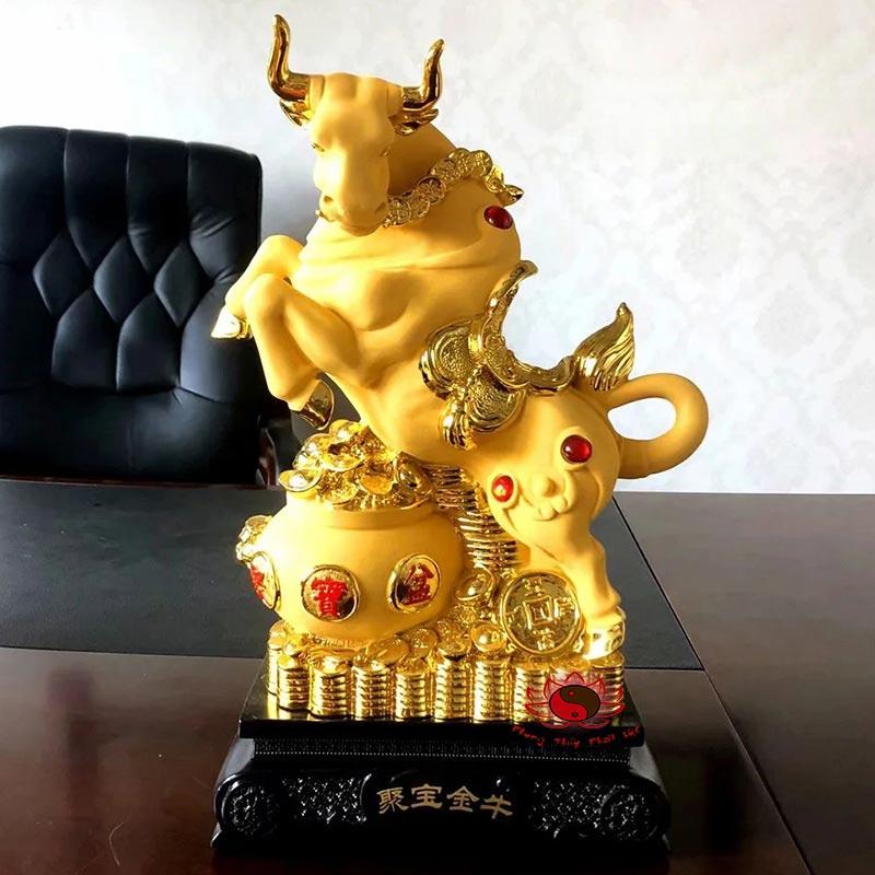 Tượng Trâu Phong Thủy Màu Vàng | Phong Thủy Phát Lộc | Giá Rẻ